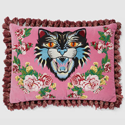 Gucci Pink Velvet Embroidered Pillow