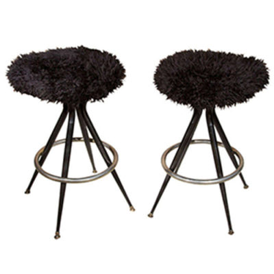 Pair of Atomic Black Fur Counter Stools