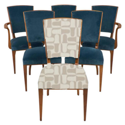 Set of Four French Art Deco  Cherrywood Armless Dining Chairs