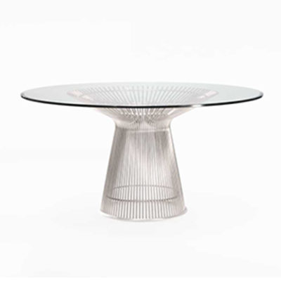 Rove Concepts Warren Steel Dining Tablewith Glass Top